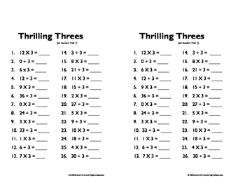 Multiplication and Division Facts (0-12 Random Order) Set #1 Quizzes and Keys