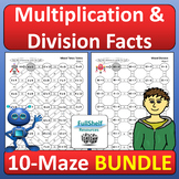 Math Mazes Multiplication and Division Facts Fluency Activities BUNDLE