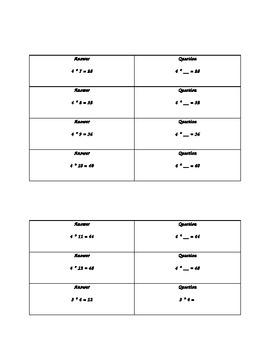 Multiplication and Division Facts - Quiz, Quiz, Trade