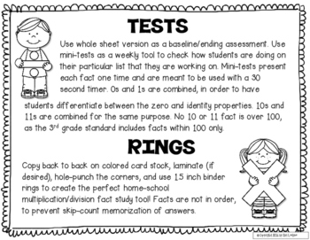 Multiplication and Division Fast Fact Tests and Study Rings, 3.OA.7