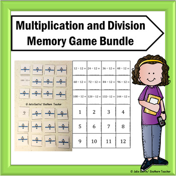 Multiplication and Division Flash Card Memory Game Bundle