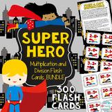 Multiplication and Division Flash Cards BUNDLE 1-12 Superhero Math Centers