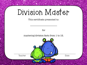 Multiplication and Division Flash Cards and Certificates - Monster Themed