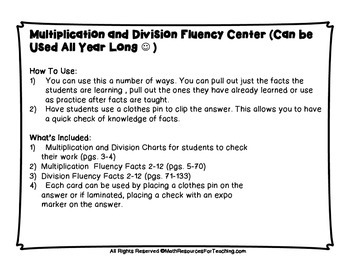 Multiplication and Division Fluency Center Activity