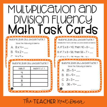 Multiplication and Division Fluency Task Cards for 3rd Grade