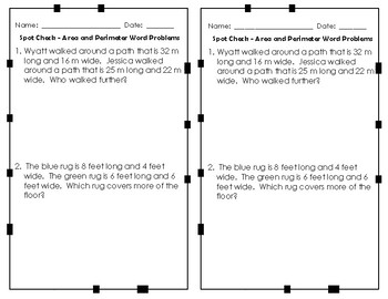 Area and Perimeter Formative Assessments / Exit Tickets