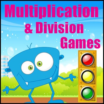 Multiplication Game and Division Game in One - Traffic Lights - Math Center Game