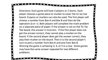 Multiplication and Division Games