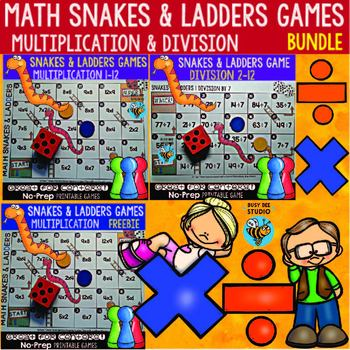 Multiplication and Division Games Bundle: Snakes and Ladders