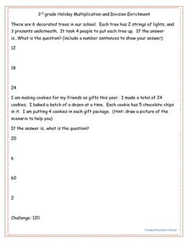 OA.3 Multiplication and Division Holiday Challenge