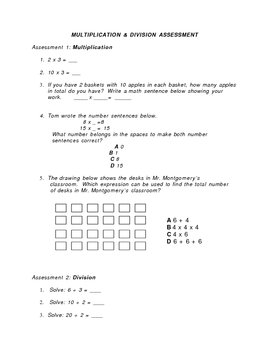 Multiplication and Division Homework or Assessment Sheet