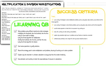 Multiplication and Division Investigations Australian Curriculum