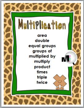 Jungle Theme Classroom Decor - Multiplication & Division Charts - Math Key Words