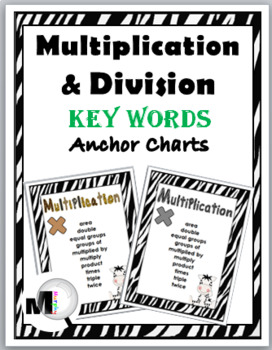 Zebra Theme Classroom Decor Multiplication Chart & Division Chart-Math Key Words