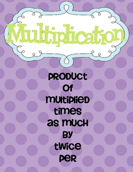 Multiplication and Division Key Words