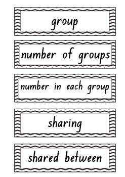 Multiplication and Division Language Cards