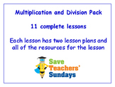 Multiplication and Division Lessons Bundle / Pack (11 Lessons for 1st-2nd grade)