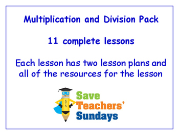 Multiplication and Division Lessons Bundle / Pack (11 Less