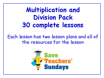 Multiplication and Division Lesson Bundle/Pack (30 Lessons for 2nd to 4th grade)