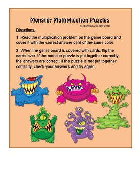 Multiplication and Division Matching Puzzles