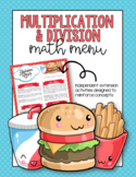 Multiplication and Division Math Menu