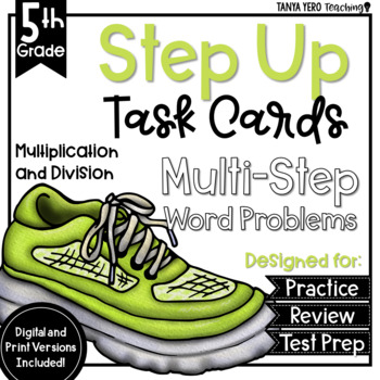 Multiplication and Division Math Multi-Step Word Problems Task Cards 5th Grade