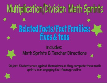 Multiplication and Division Math Sprints - Fives and Tens - Fact Fluency