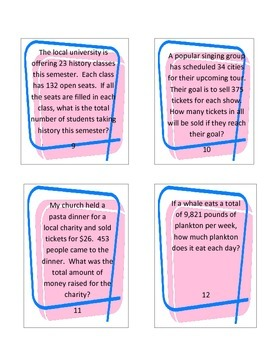 Multiplication and Division Math Word Problem Task Cards