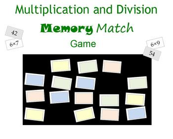 Multiplication and Division Memory Match Game