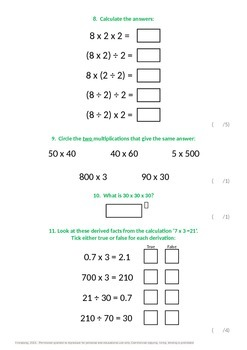 Multiplication and Division:  Mental Calculation