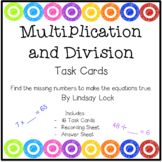 Multiplication and Division Missing Numbers Task Cards