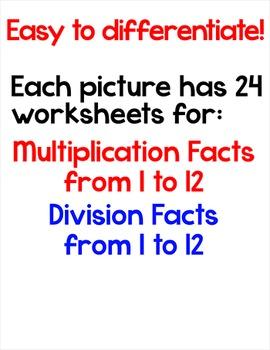 Winter Math Multiplication and Division Bundle: Penguin, Snowman, Polar Bear