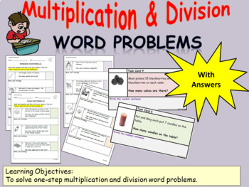 Multiplication/Division One-Step Word Problems: Worksheets
