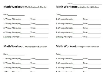 Multiplication and Division Practice Accountability Worksheet