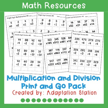 Multiplication and Division Print and Go