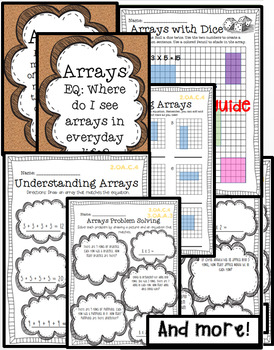 Drawing/Naming Arrays AND Multiplication problem solving worksheets/math centers