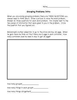 Multiplication and Division Problem Solving Intro
