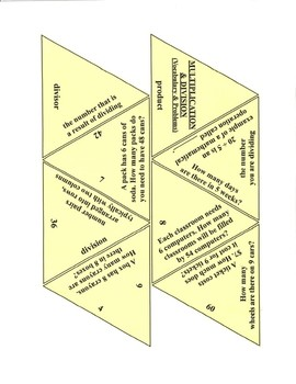 Multiplication and Division Problems and Vocabulary Game Puzzle with Worksheet