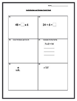Multiplication and Division Quick Check