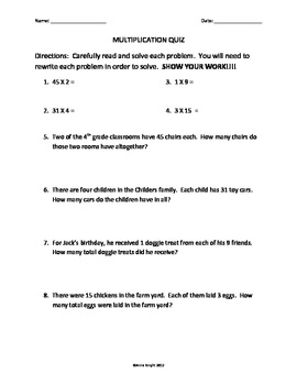Multiplication and Division Quiz 1
