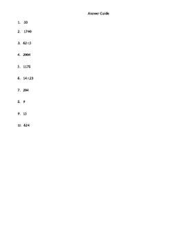 Multiplication and Division Quiz/Worksheet
