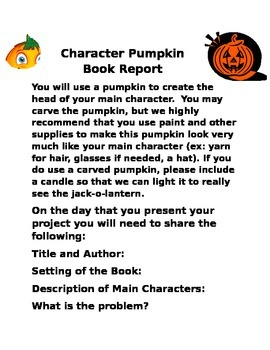 Book Report directions: Character Pumpkin