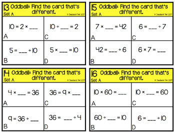 Multiplication and Division Related Facts Oddball Cards