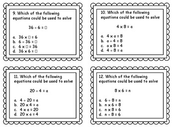 Multiplication and Division Related Facts Task Cards