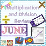 End of Year Multiplication and Division Review Mystery Pictures - June Theme