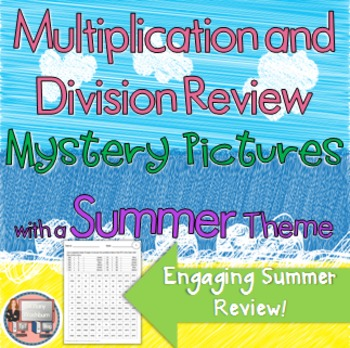 Summer Multiplication and Division Review Mystery Pictures