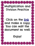 Multiplication and Division Review True or False