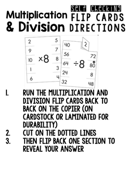 Multiplication and Division Self Checking Cards