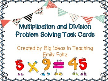 Multiplication and Division Set of 12 Task Cards FREEBIE!!