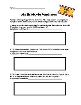 Multiplication and Division Story Problems (Word Problems)